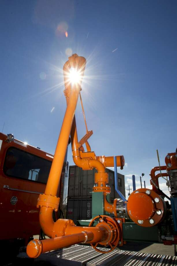 A pivoting gas line arm, used to fuel hydraulic fracturing units, is shown at Turbine Power Technology in Franklin, La. ( Brett Coomer / Houston Chronicle )