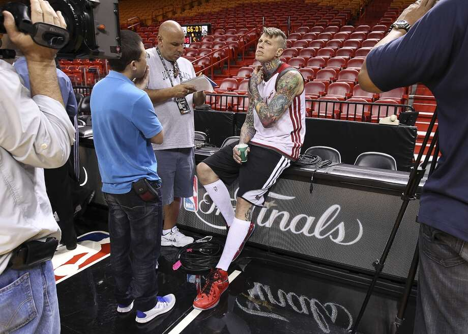 Miami Heats' Chris Andersen gets interviewed during practice and media sessions at the American Airlines Arena in Miami on Friday, June 7, 2013. (Kin Man Hui/San Antonio Express-News)