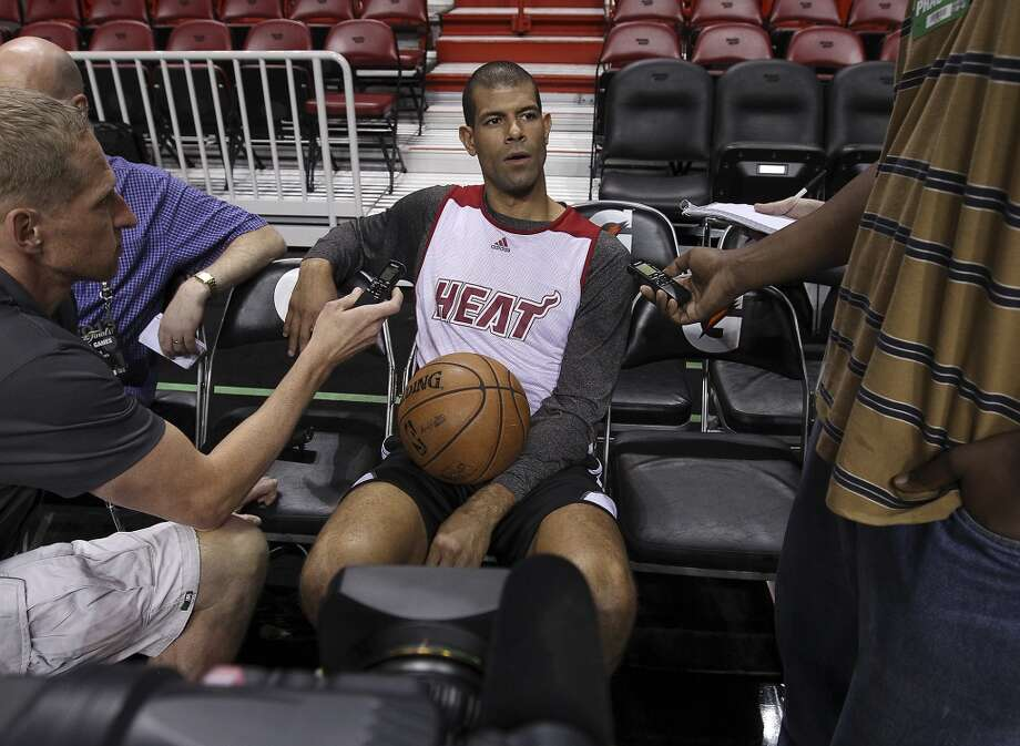 Miami Heats' Shane Battier takes questions during practice and media sessions at the American Airlines Arena in Miami on Friday, June 7, 2013. (Kin Man Hui/San Antonio Express-News)