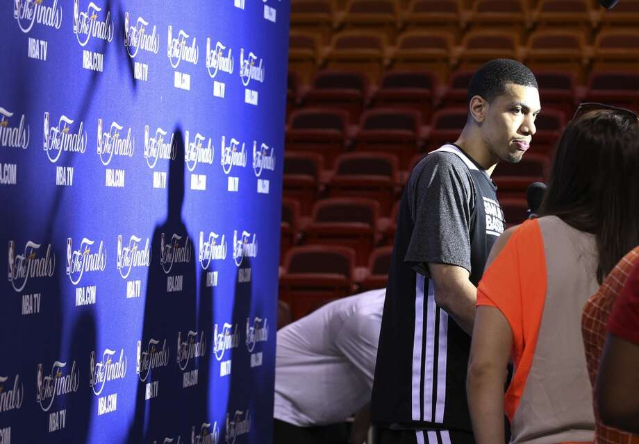 Danny Green answers questions during practice and media sessions at the American Airlines Arena in Miami on Friday, June 7, 2013. (Kin Man Hui/San Antonio Express-News)