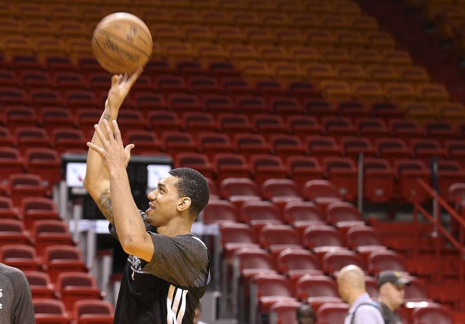 Danny Green takes a shot during practice and media sessions at the American Airlines Arena in Miami on Friday, June 7, 2013. (Kin Man Hui/San Antonio Express-News)