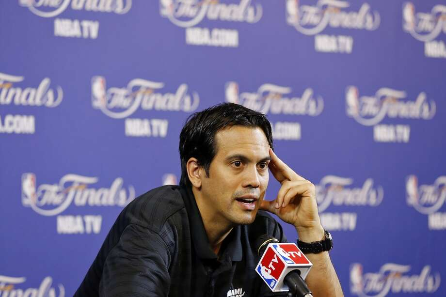 Miami Heat head coach Erik Spoelstra answers questions from the media during practice Friday June 7, 2013 at American Airlines Arena in Miami, Fla.