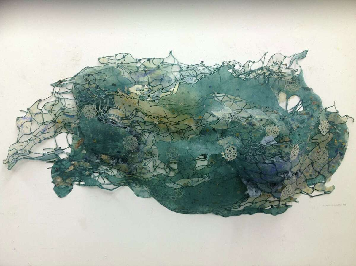 """Print-based sculptures by Joan Hall (including """"Blue Lagoon,"""" above)and Paul Booker are on view through June 30 at Anya Tish Gallery."""