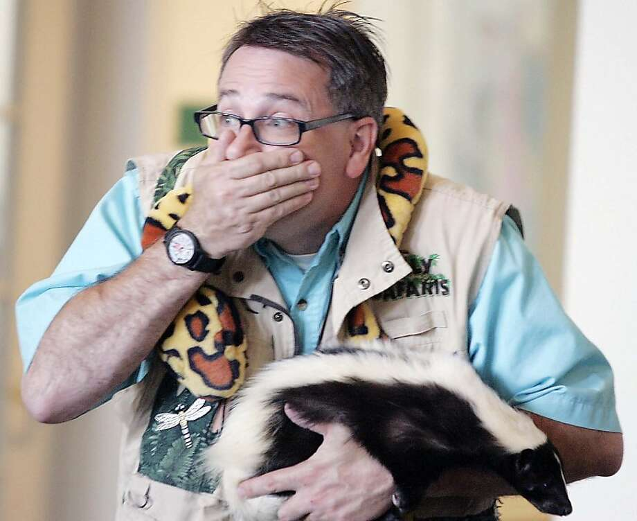 "Who cut the cheese? ""Amazon John"" pretends to be overwhelmed by an unpleasant odor during his Silly Safaris presentation at Brentwood Assisted Living Center in Brentwood, Calif. John brought a variety of animals for the residents to see and pet. Photo: Bob Wellinski, Associated Press"