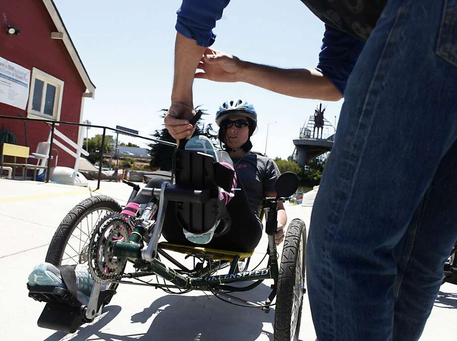 In preparation for the Valor Games in the Bay Area this week, Air Force Master Sgt. Shelby Hatch gets ready to practice riding laps on a recumbent bike at the Bay Area Outreach and Recreation Program in Berkeley. Photo: Katie Meek, The Chronicle