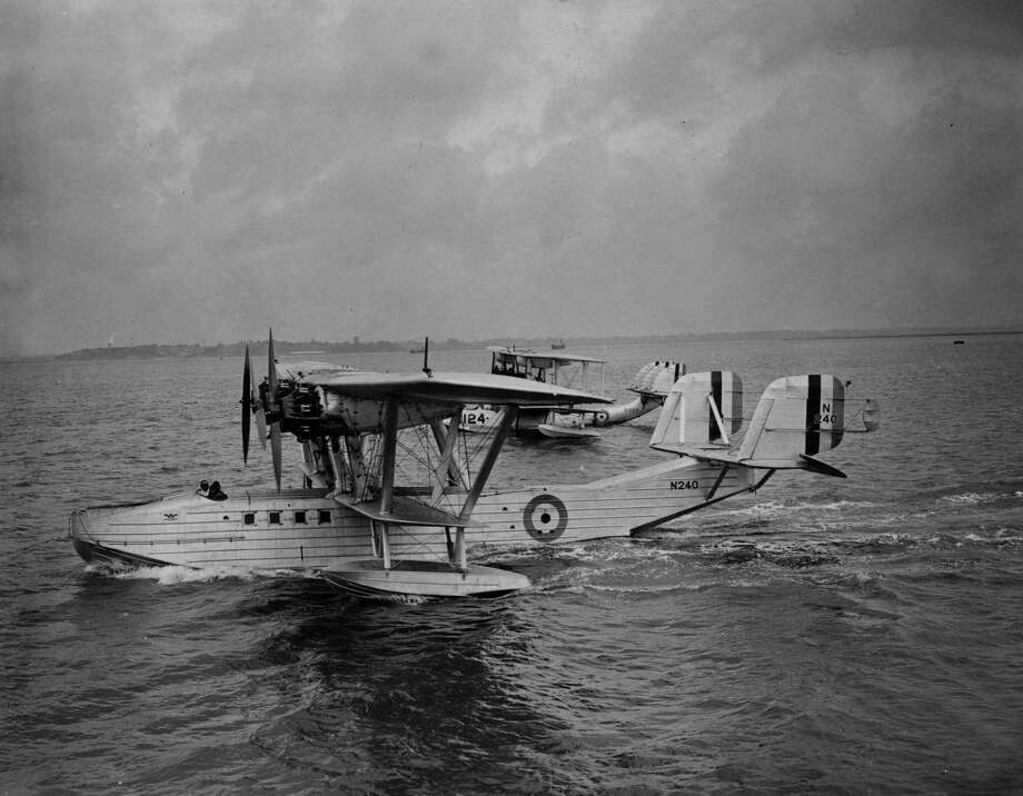 The British Saunders-Roe A7 maritime patrol flying boat first flew in 1930. Here, one prepares to start a race to the Red Sea and back from  Felixstowe Seaplane Station, Kent, England on Aug. 15, 1931. Photo: A. Hudson, Getty Images / Hulton Archive