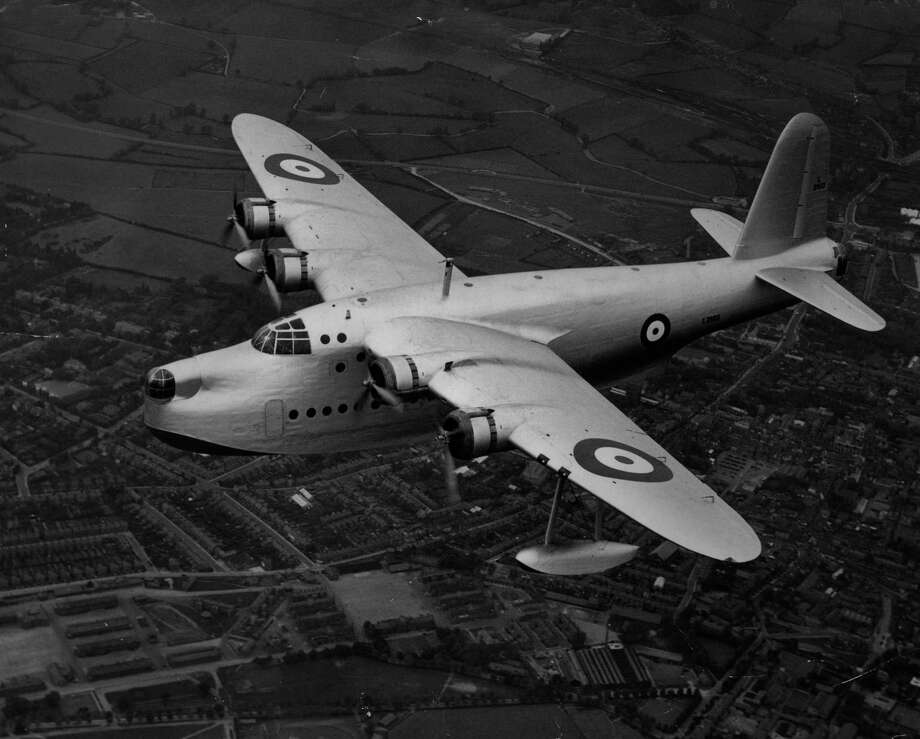 "The British Short ""Sunderland"" flying boat bomber evolved from the Empire flying boat. It first flew in 1937. Photo: Charles E. Brown, Getty Images / Hulton Archive"