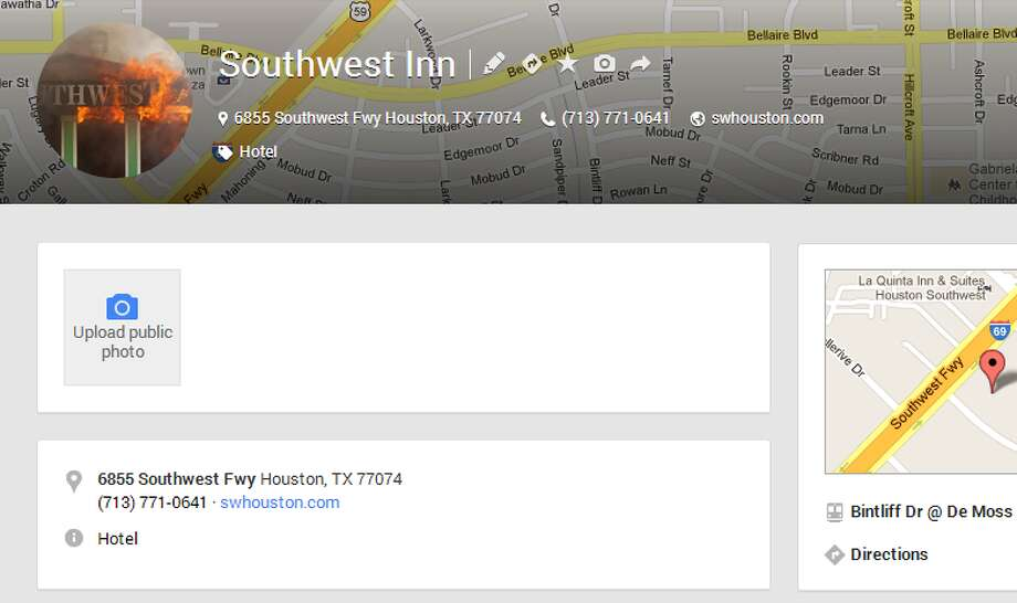 A screenshot of the Google Plus page for the Southwest Inn.
