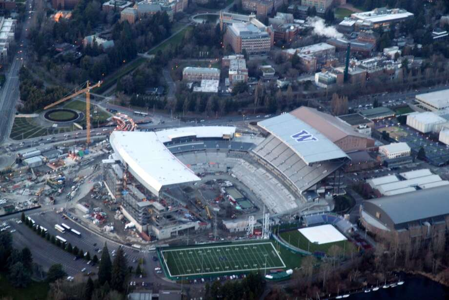 An aerial view of the Husky Stadium renovation on Saturday, Jan 12, 2013. Photo: Picasa