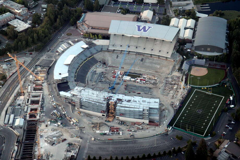 An aerial view of the Husky Stadium renovation on Saturday, Aug. 25, 2012. Photo: Picasa