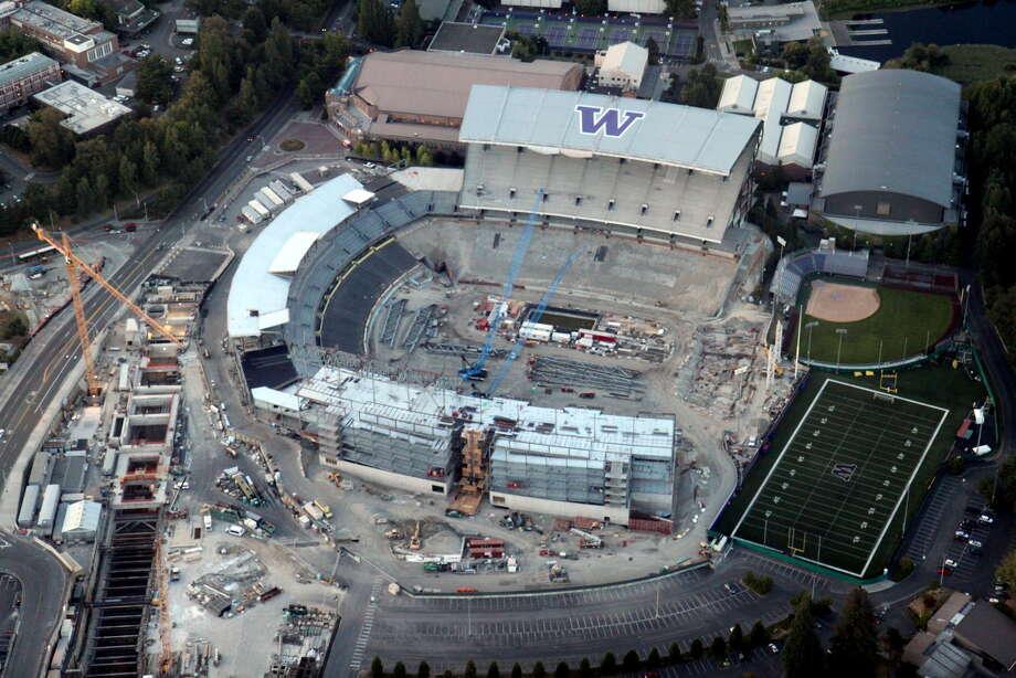 An aerial view of the Husky Stadium renovation on Saturday, Aug. 25, 2012. Photo: Picasa