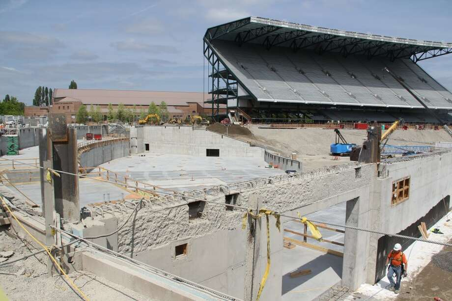 A view of the Husky Stadium renovation site during the week of June 11, 2012.