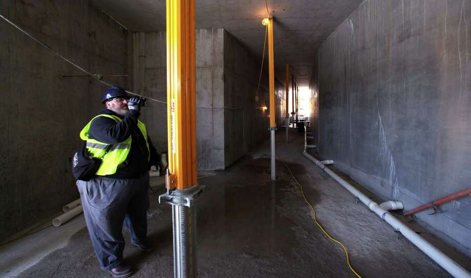 A new tunnel connecting to nearby Hec Edmundson Pavilion is seen during work on Husky Stadium on Monday, April 23, 2012, in Seattle. Photo: AP