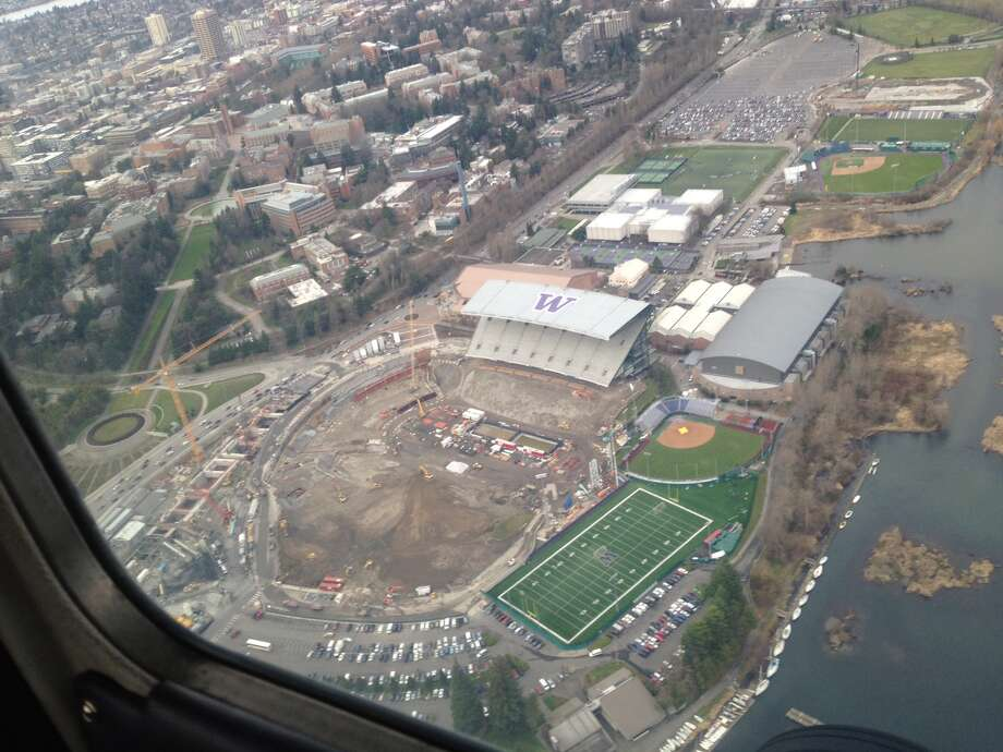 The Husky Stadium renovation site is seen from the air on Feb. 11, 2012.