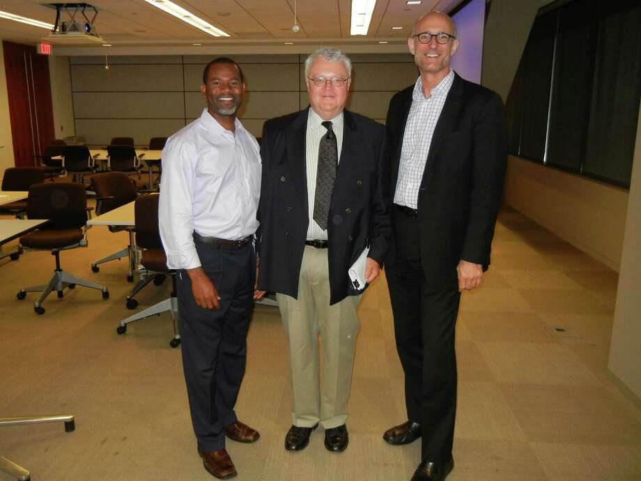 Among those at the May meeting of Houston International HR Roundtable were (from left) Brian W. Walker (Chevron Corp.), Neill M. Carson (Levinson Institute and International Assignment Profiles) and Larry Scott (president/founder of Houston International HR Roundtable, LLC, and legal recruiter with Lucas Group).