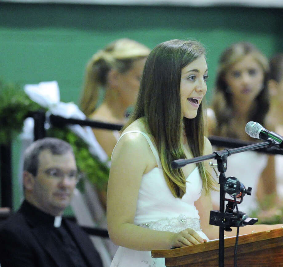 Co-Valedictorian Carolyn Schnackenberg speaks durng the Convent of the Sacred Heart Commencement at the school in Greenwich, Friday afternoon, June7, 2013. Eighty-two students graduated. Photo: Bob Luckey / Greenwich Time