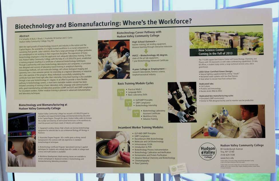 A poster from Hudson Valley Community College at the second annual Capital Region Commercialization of Life Sciences Innovation Day at Albany Molecular Research on Friday June 7, 2013 in Allbany, N.Y. (Lori Van Buren / Times Union)