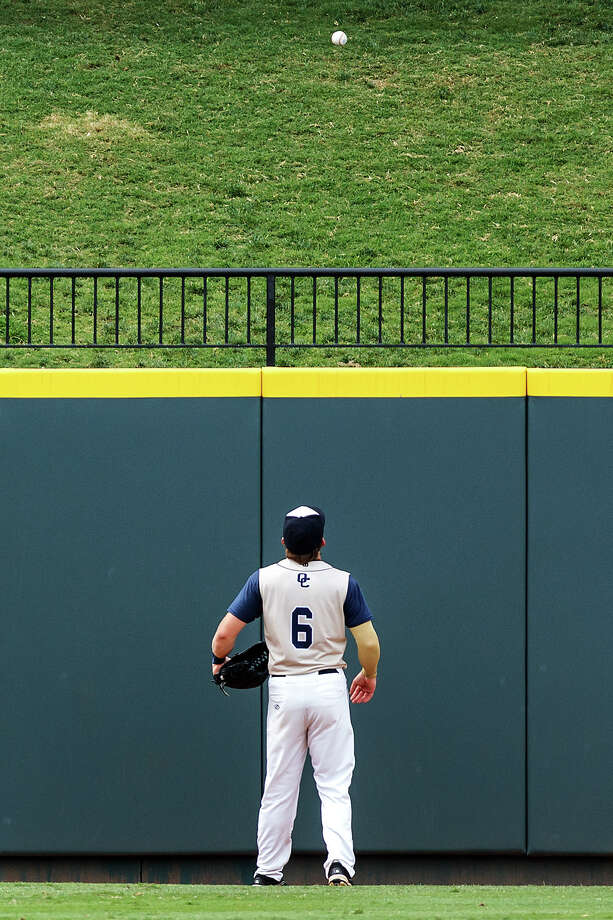 O'Connor's Kent Corso stares at the walk-off home run ball above the left field wall that Kolbi Brown of Conroe The Woodlands hit to win their Class 5A state semifinal game 2-1 at Dell Diamond in Round Rock on Friday, June 7, 2013.  MARVIN PFEIFFER/ mpfeiffer@express-news.net Photo: MARVIN PFEIFFER, Marvin Pfeiffer/ Express-News / Express-News 2013