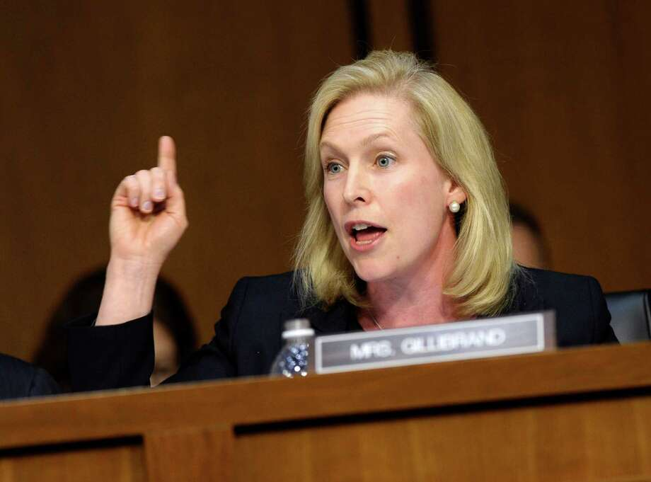 Senate Armed Services Committee member Sen. Kirsten Gillibrand, D-N.Y. asks a question of a witness on Capitol Hill in Washington, Tuesday, June 4, 2013, during the committee's hearing on pending legislation regarding sexual assaults in the military  (AP Photo/Susan Walsh) Photo: Susan Walsh