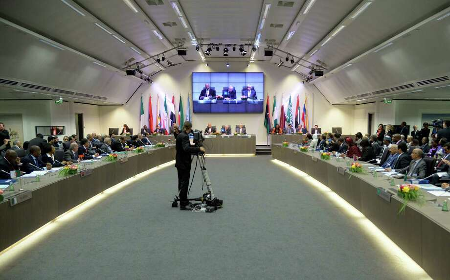 General view of a meeting of oil ministers of the Organization of the Petroleum Exporting countries, OPEC, at their headquarters in Vienna, Austria, Friday, May. 31, 2013. (AP Photo/Hans Punz) Photo: Hans Punz, STR / AP
