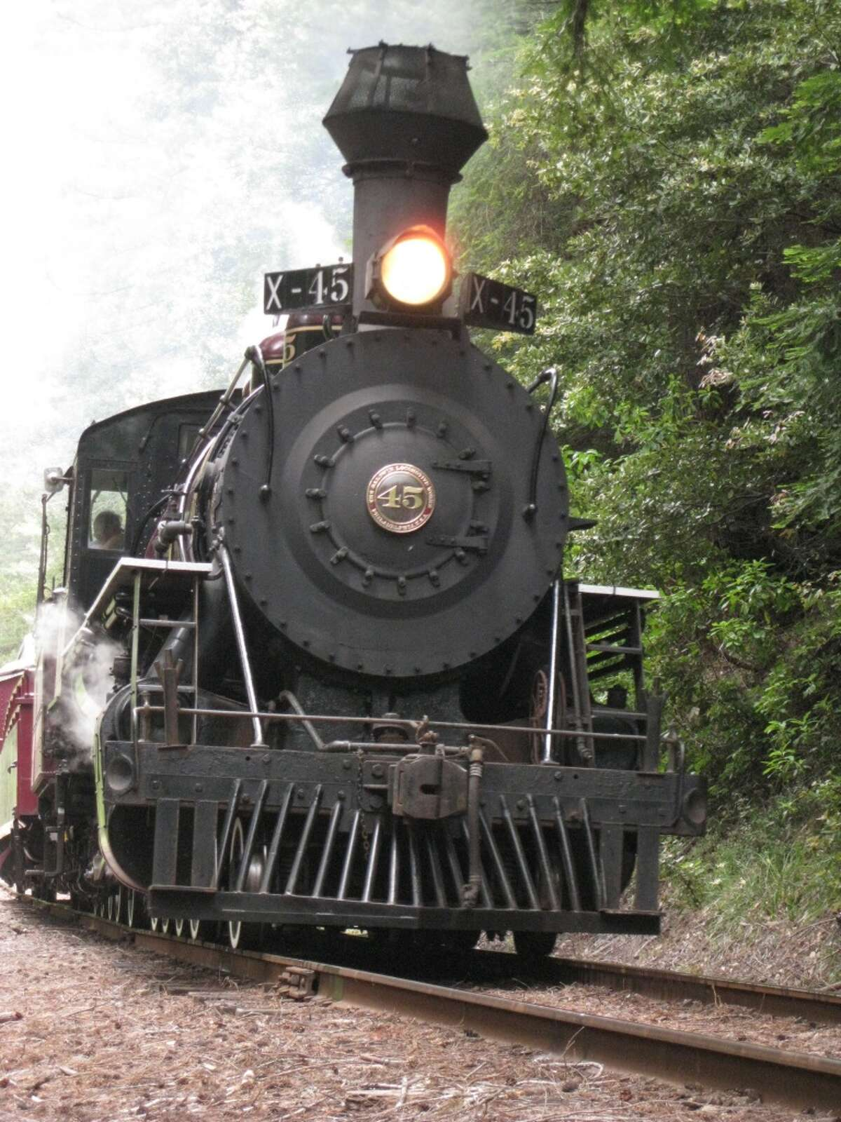 Engine #45 of the Skunk Train - a 1924 Baldwin 2-8-2 Mikado Steam Locomotive - rounds the corner at Alpine (a spot Jack London visited several times) carrying passengers to Northspur.