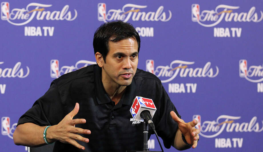 Miami Heat coach Erik Spoelstra answers questions during practice and media sessions at the American Airlines Arena in Miami on Saturday, June 8, 2013. Photo: Kin Man Hui, San Antonio Express-News / ©2013 San Antonio Express-News
