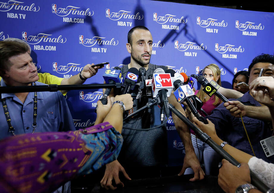 San Antonio Spurs' Manu Ginobili answers questions from the media during practice Saturday June 8, 2013 at American Airlines Arena in Miami, Fla. Photo: Edward A. Ornelas, San Antonio Express-News / © 2013 San Antonio Express-News
