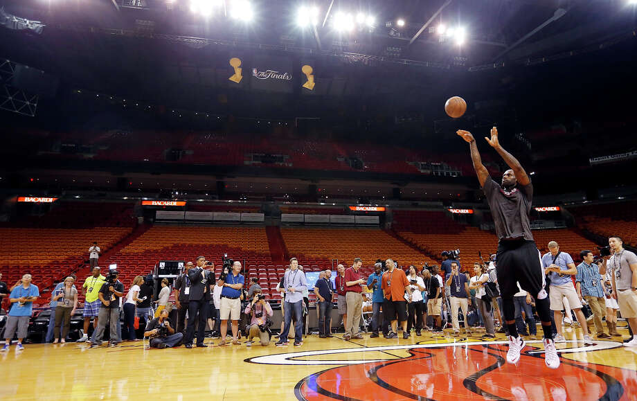 Miami Heat's LeBron James shoots during practice Saturday June 8, 2013 at American Airlines Arena in Miami, Fla. Photo: Edward A. Ornelas, San Antonio Express-News / © 2013 San Antonio Express-News