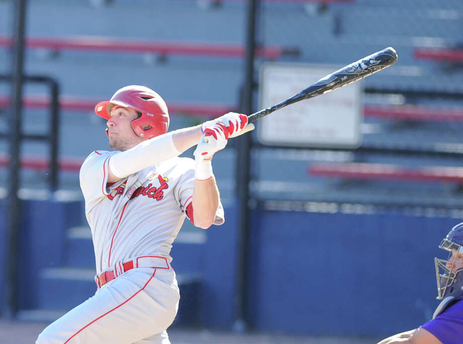 Taylor Olmstead of Greenwich was drafted by the Texas Rangers Saturday in the 13th round of the Major League Baseball draft. Photo: Bob Luckey / Greenwich Time