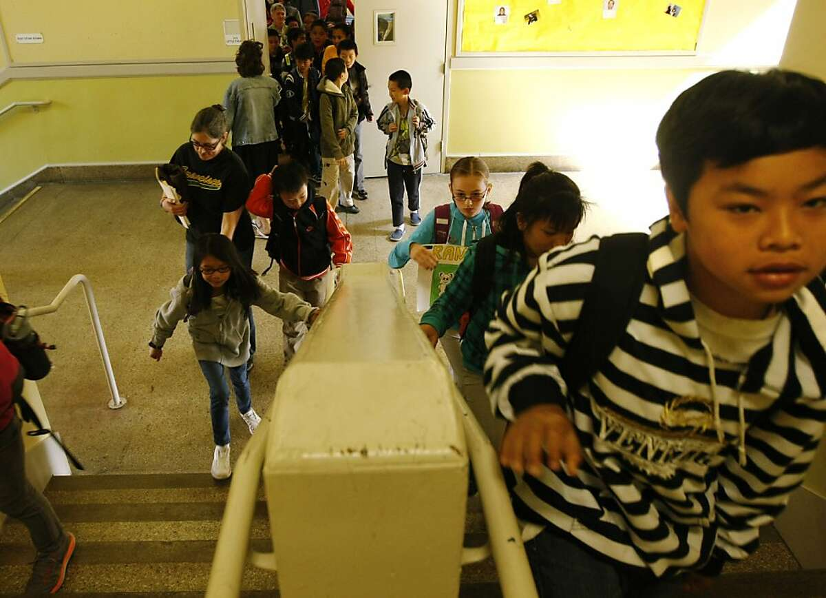 Elementary school children walk the hallways at Francisco Middle School on Friday, June 7, 2013, in San Francisco, Calif.