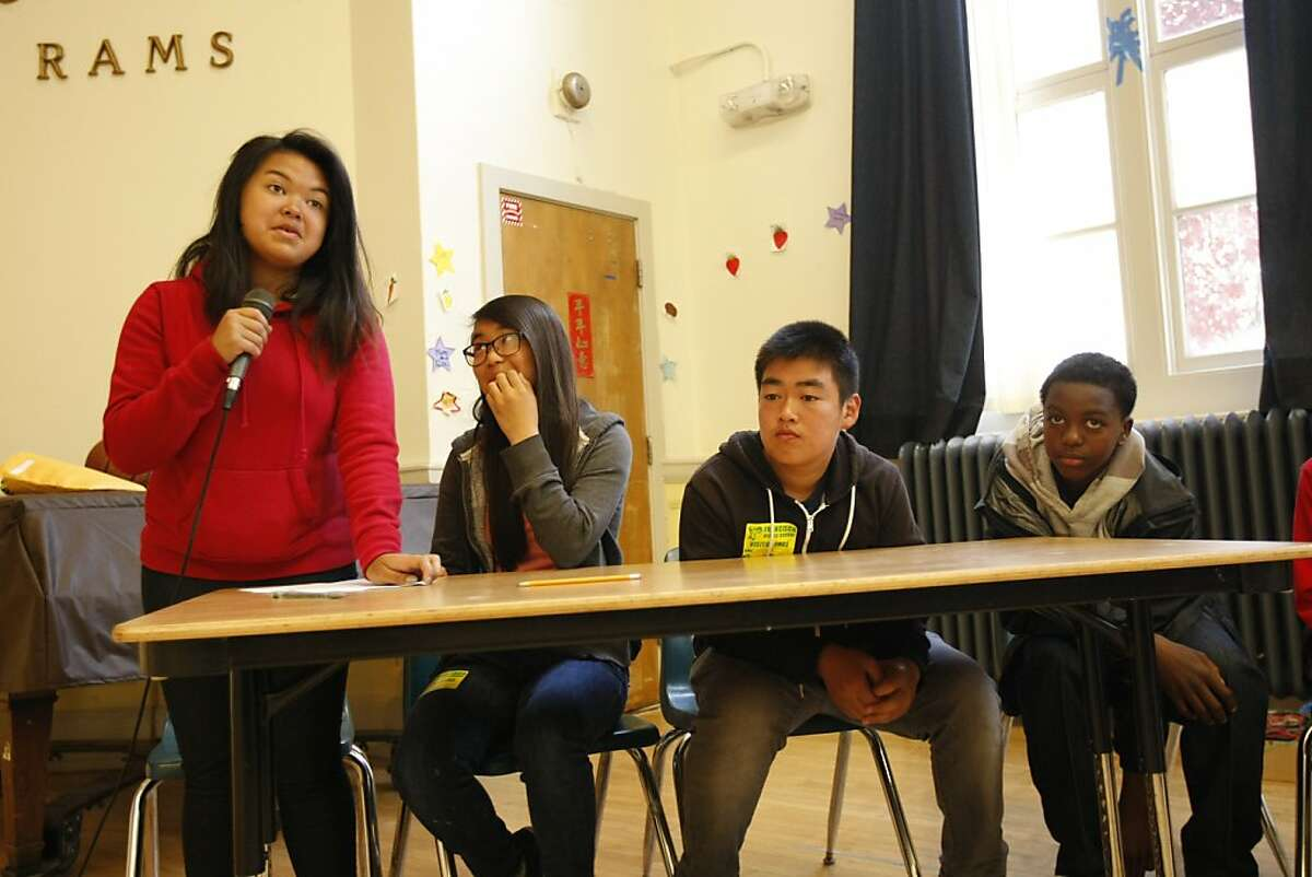 Elizabeth Dinio, Emily Jiang, Aidan Zhu and David Sonnier, in the 7th grade at Francisco Middle School answer questions from incoming sixth graders at Francisco Middle School on Friday, June 7, 2013, in San Francisco, Calif.