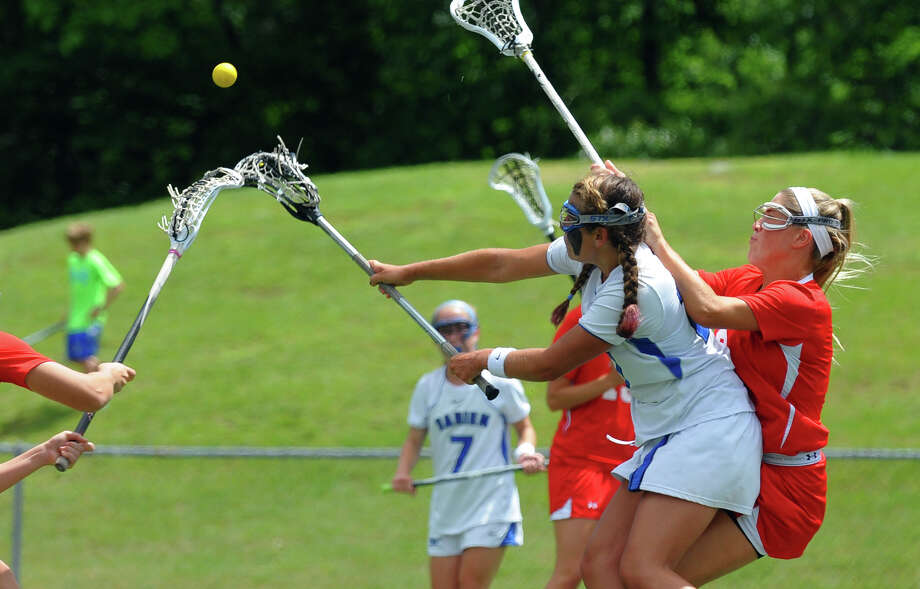 Darien's Taylor Hardison, during Class L lacrosse finals action against Greenwich in Stratford, Conn. on Saturday June 8, 2013. Photo: Christian Abraham / Connecticut Post