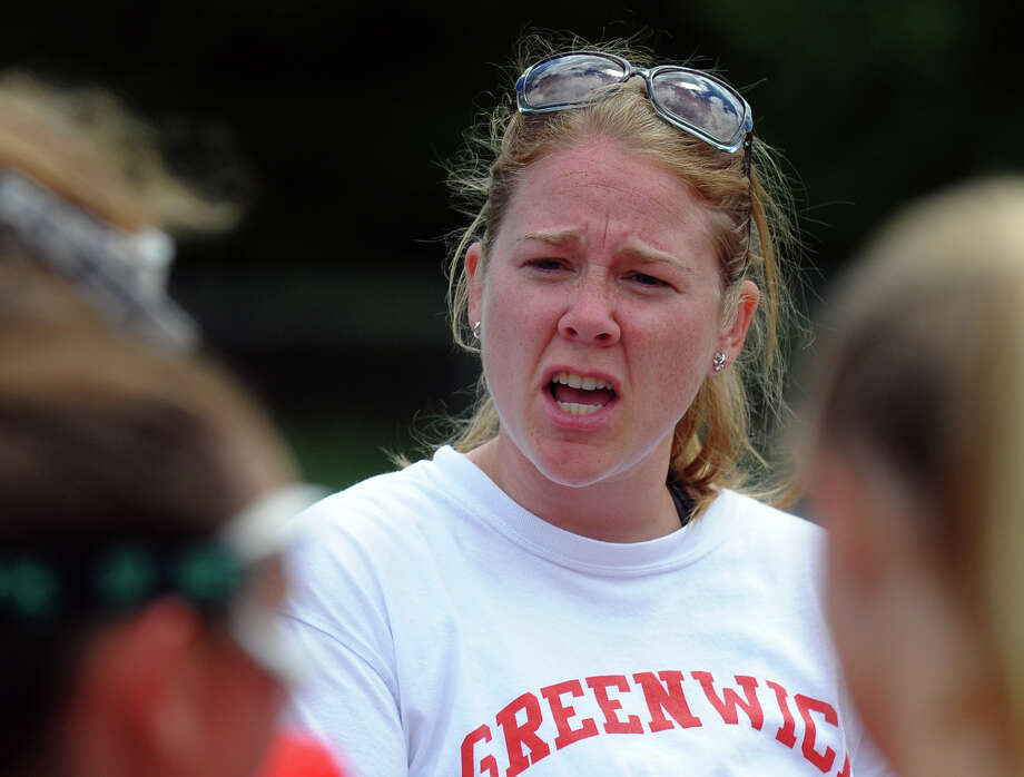 Greenwich Head Coach Caitlin Keane, during Class L lacrosse finals action against Darien in Stratford, Conn. on Saturday June 8, 2013. Photo: Christian Abraham / Connecticut Post