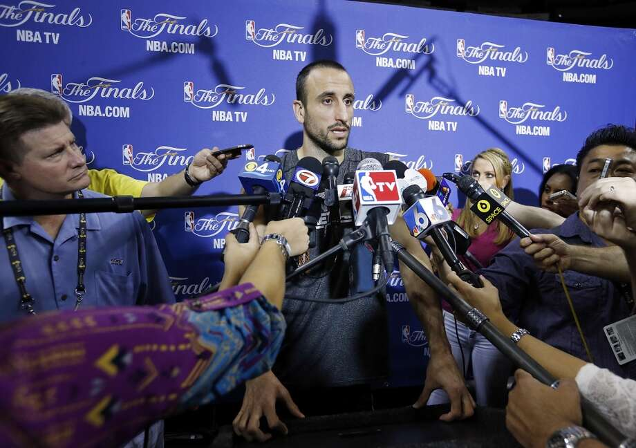 San Antonio Spurs' Manu Ginobili answers questions from the media during practice Saturday, June 8, 2013, at American Airlines Arena in Miami, Fla. (Edward A. Ornelas / San Antonio Express-News)