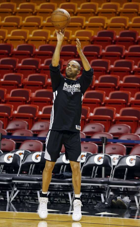 San Antonio Spurs' Tony Parker shoots during practice Saturday, June 8, 2013, at American Airlines Arena in Miami, Fla. (Edward A. Ornelas / San Antonio Express-News)