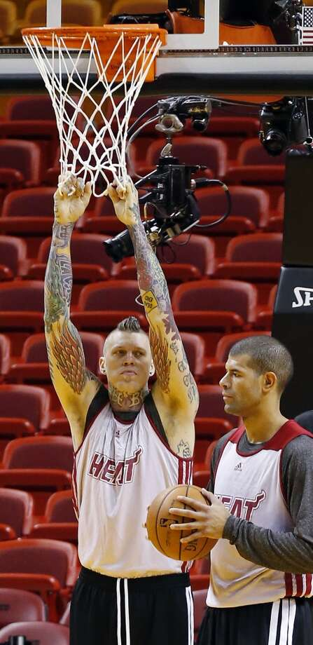 Miami Heat's Chris Andersen (left) and Shane Battier take part in during practice Saturday, June 8, 2013, at American Airlines Arena in Miami, Fla. (Edward A. Ornelas / San Antonio Express-News)