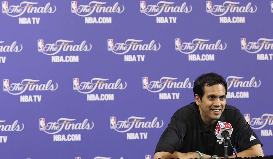 Miami Heat coach Erik Spoelstra answers questions during practice and media sessions at the American Airlines Arena in Miami on Saturday, June 8, 2013. (Kin Man Hui / San Antonio Express-News)