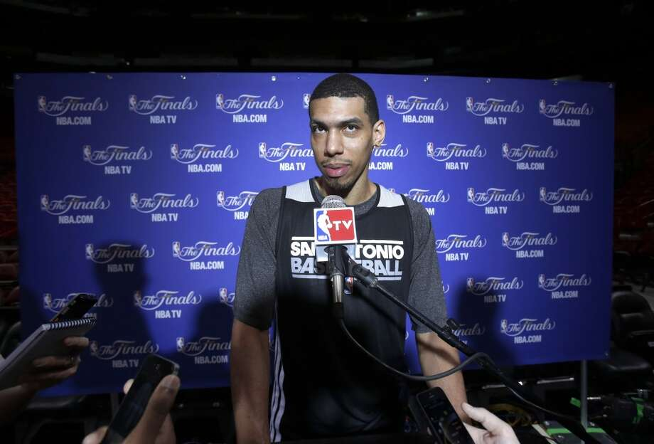 San Antonio Spurs guard Danny Green speaks to members of the media before NBA basketball practice, Saturday, June 8, 2013 at the American Airlines Arena in Miami. The Miami Heat and the Spurs play in  Game 2 of the NBA Finals on Sunday. (Wilfredo Lee / Associated Press)