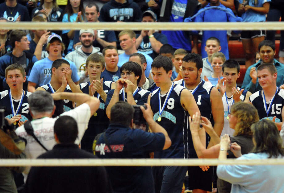 Class M volleyball finals action between Oxford and Enfield in Shelton, Conn. on Friday June 7, 2013. Photo: Christian Abraham / Connecticut Post