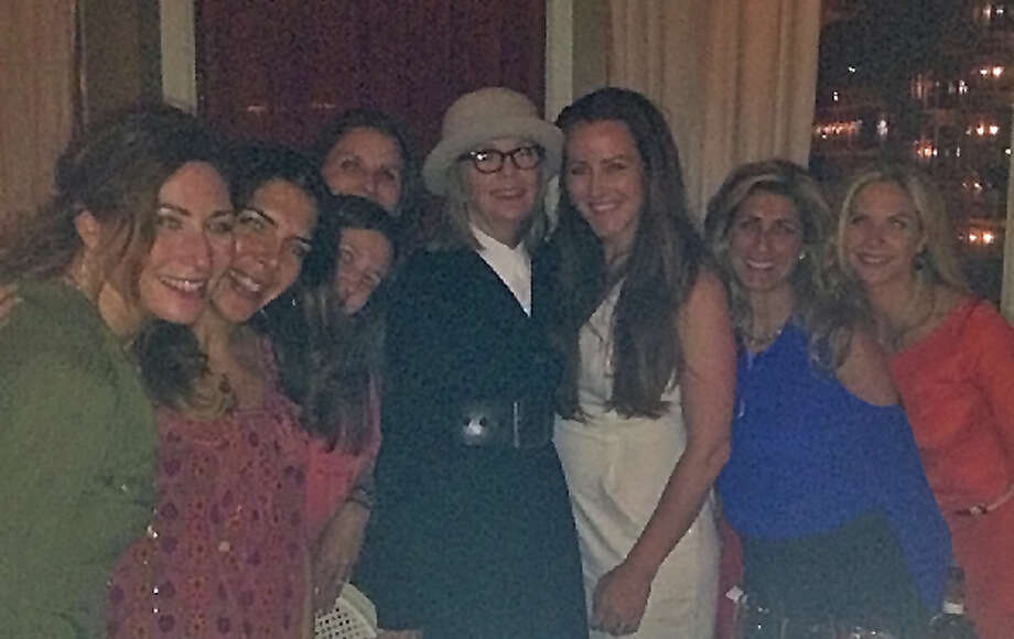 Actress Diane Keaton chumming up with local ladies celebrating Darien Resident Travis Azous's birthday at L'escale in Greenwich on Monday night, Jun3, 2013. Photo: Greenwich Time