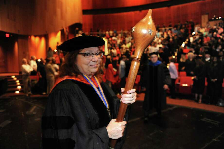 Karen Garner, a professor at Empire State College, acts as processional marshal during the Empire State College Northeast Center graduation commencement at the Egg on Saturday June 8, 2013 in Albany, N.Y.  (Michael P. Farrell/Times Union) Photo: Michael P. Farrell