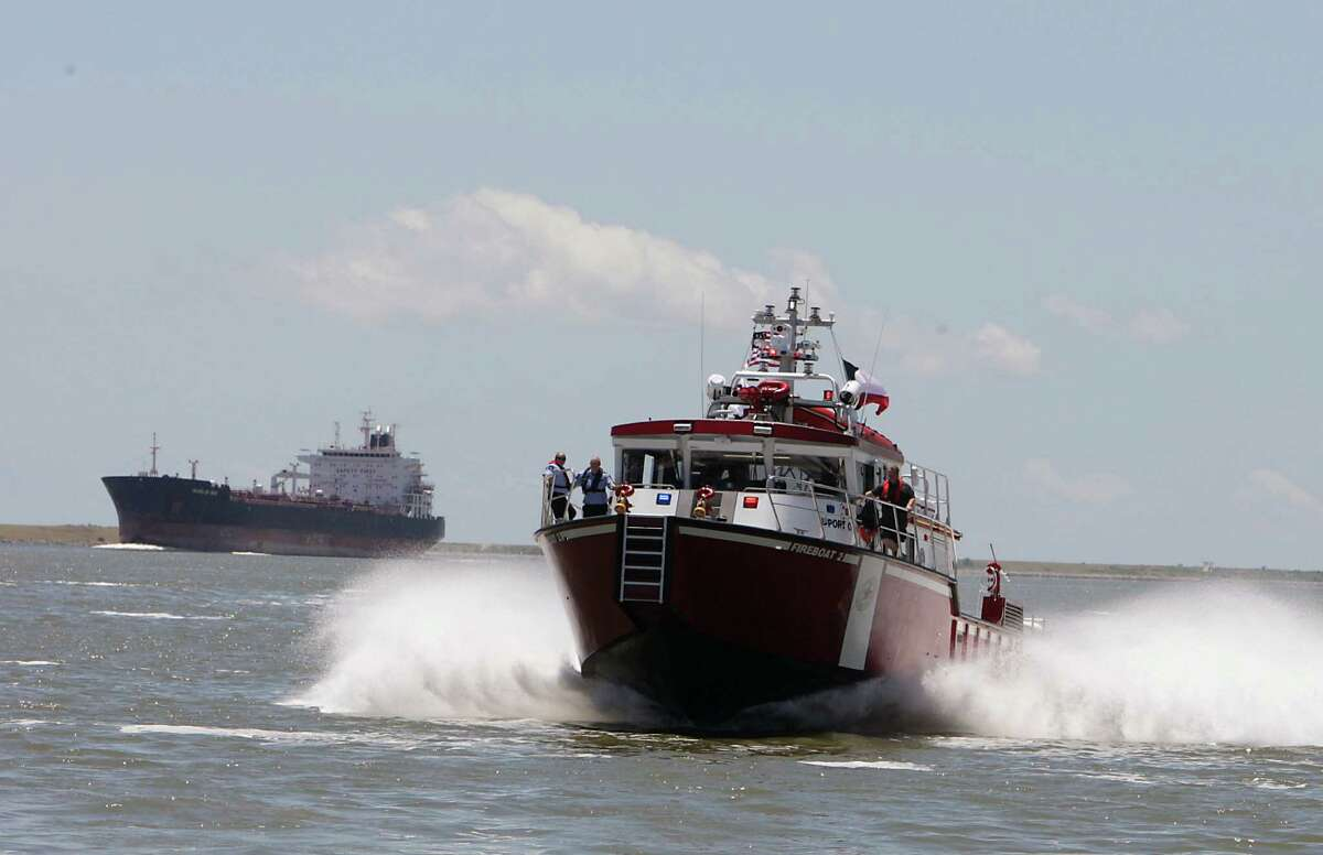 A view of the Port of Houston's newest fireboat FB2 during a demonstration near Barbours Cut Tuesday, June 4, 2013, in Houston.