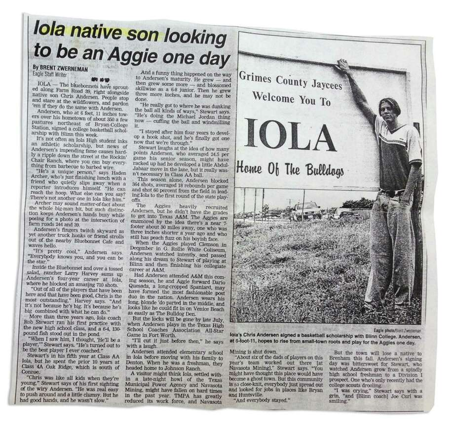 As a reporter for the Bryan-College Station Eagle in 1997, Brent Zwerneman spoke with a young Chris Anderson of Iola.