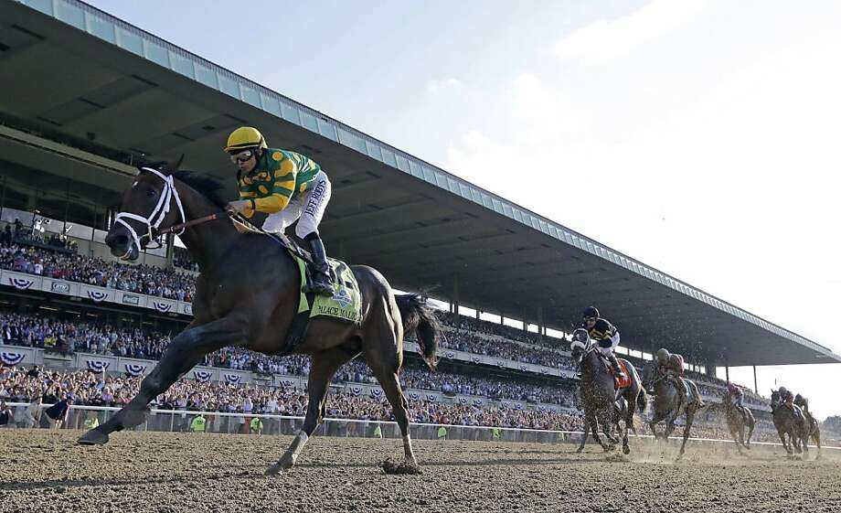 Palace Malice, left, with jockey Mike Smith up, wins the 145th Belmont Stakes horse race at Belmont Park Saturday, June 8, 2013, in Elmont, N.Y. (AP Photo/Julio Cortez) Photo: Julio Cortez, Associated Press