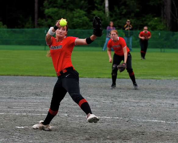 Chatham senior pitcher Kayla Doty, 28, throws a pitch during the Class B semi final game against Marlboro, Saturday, June 8, 2013 at the Adirondack Sport Complex in Queensbury, N.Y. (Dan Little/Special to the Times Union) Photo: Dan Little / Dan Little
