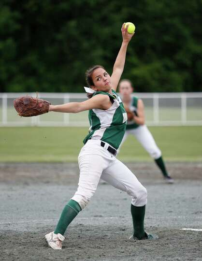 Greenwich senior pitcher Sarah Heimbach, 10, fires a pitch home during the Class C semi final game a