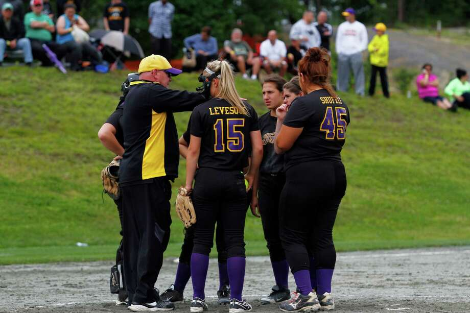 Troy High head Coach George Rafferty talks to his team on the mound during the Class A state semifinal game against Sayville, Saturday, June 6 at the Adirondack Sport Complex in Queensbury, N.Y. (Dan Little/Special to the Times Union) Photo: Dan Little / Dan Little