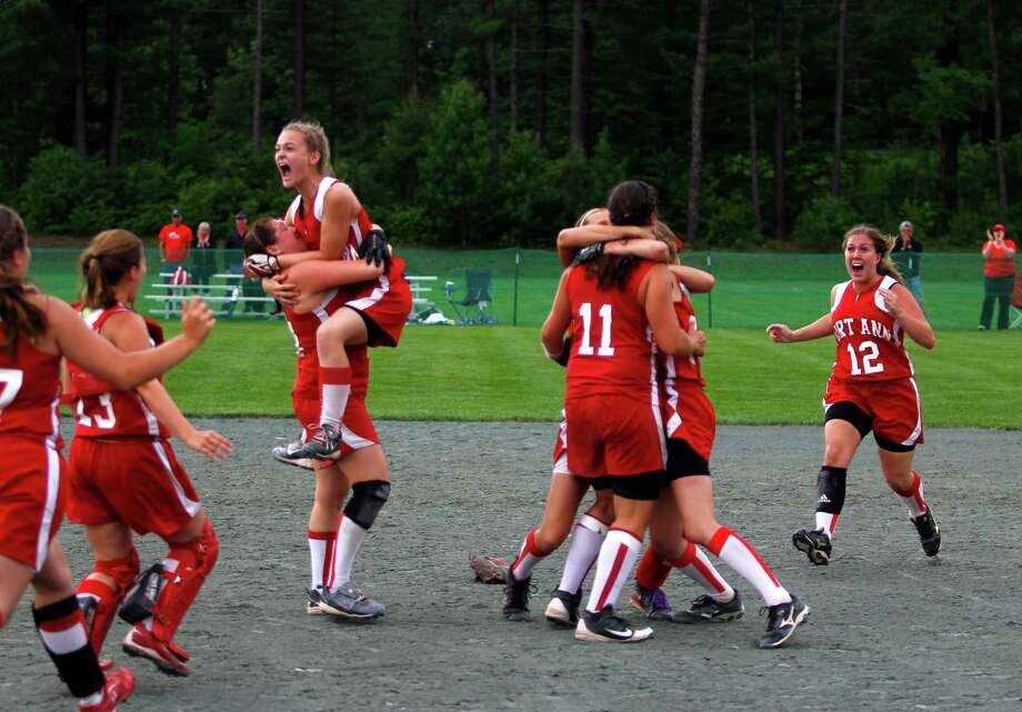 Fort Ann girls celebrate their Class D state championship win against Afton, Saturday, June 8, 2013 at the Adirondack Sport Complex in Queensbury, N.Y. (Dan Little/Special to the Times Union) Photo: Dan Little / Dan Little