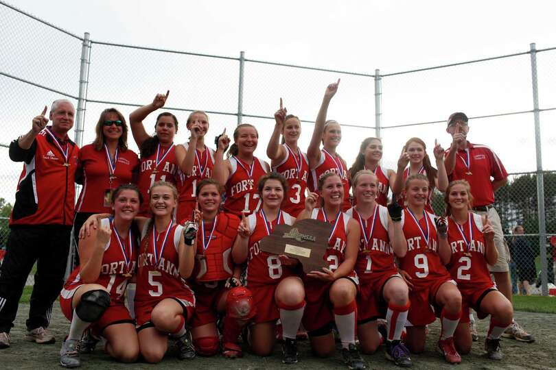 Fort Ann girls celebrate their Class D state championship win against Afton, Saturday, June 8, 2013