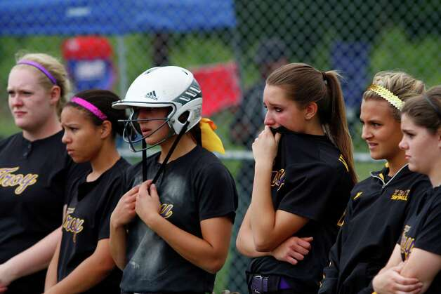 Troy High girls line up on the field after a 6-4 loss to Sayville for their Class A state semifinal game, Saturday, June 8, 2013 at the Adirondack Sport Complex in Queensbury, N.Y. (Dan Little/Special to the Times Union) Photo: Dan Little / Dan Little